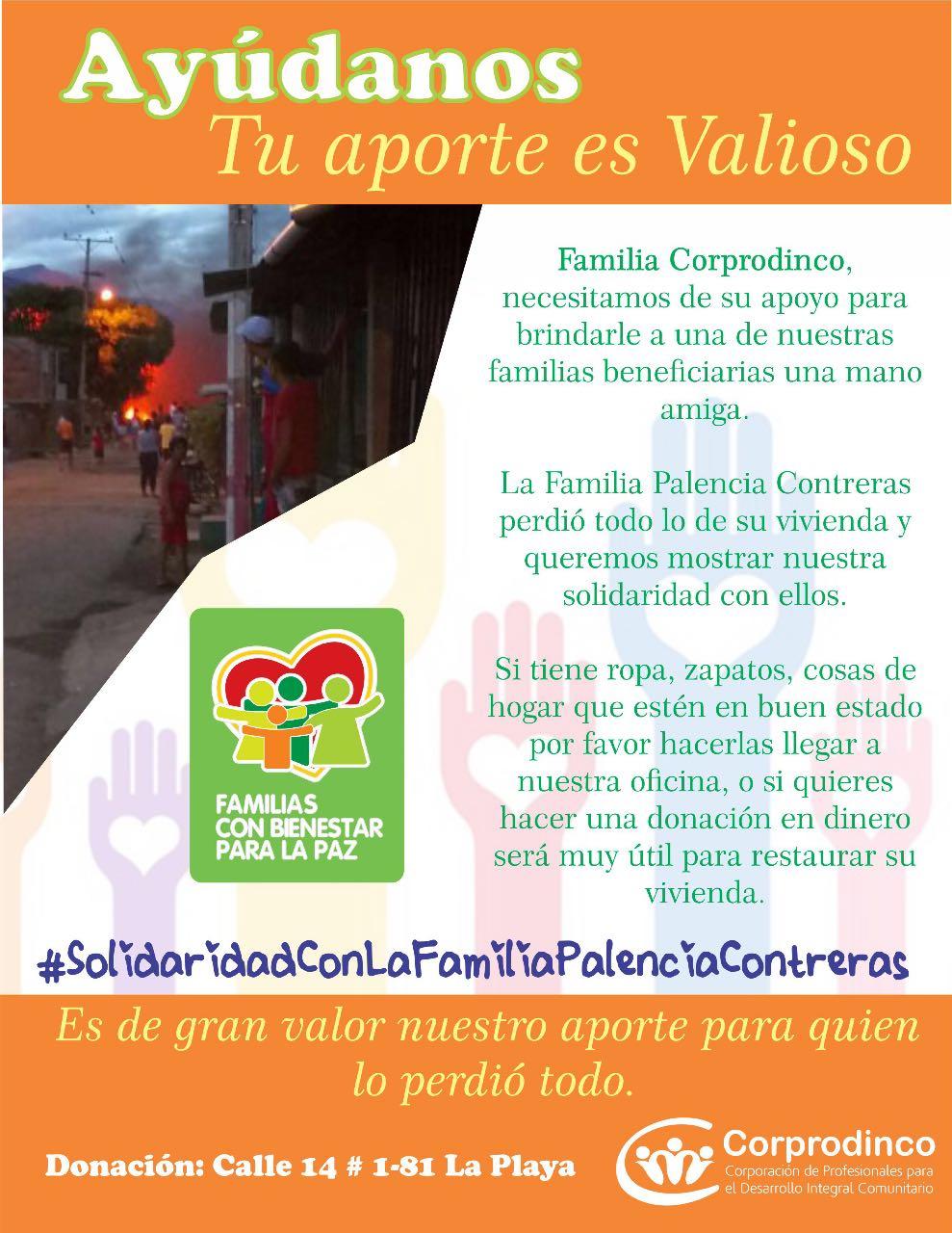 Corprodinco hace donación a Familia que lo perdió todo en Villa del Rosario