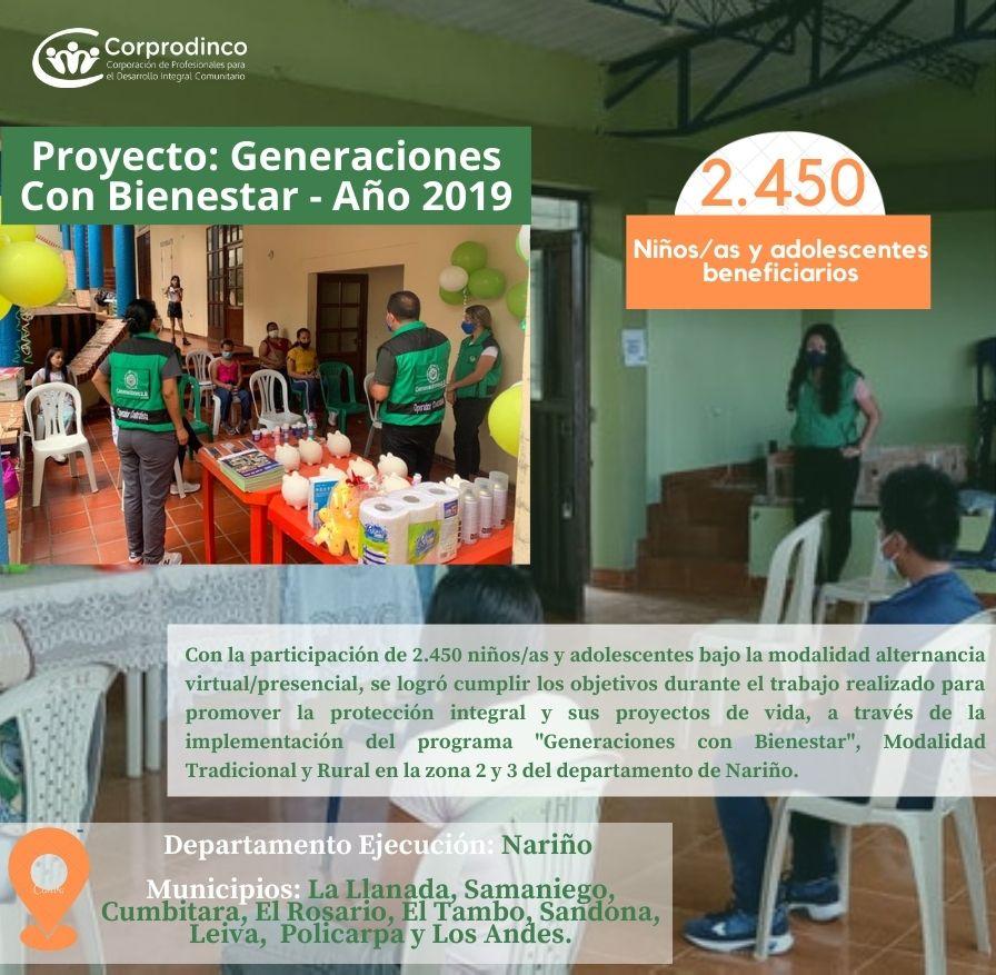 GENERACIONES CON BIENESTAR – NARIÑO AÑO 2019